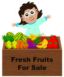 Fruit stand. A cute cartoon girl selling various fruits in a fruit stand Royalty Free Stock Photos