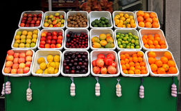 Fruit stand. Big fruit stand in front of grocery store Royalty Free Stock Photography