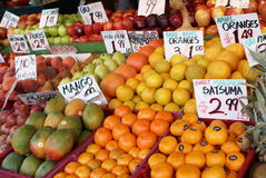 Fruit Stand. Assorted fruit at an outdoor market stand Stock Photo