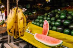 Fruit stand on colorful market in Nairobi, Kenya royalty free stock images