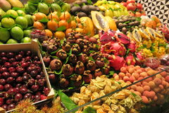 FRUIT STAND. Colourful fruit stand at Boqueria market in Barcelona, Spain Royalty Free Stock Photo
