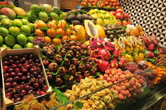 FRUIT STAND. Colourful fruit stand at Boqueria market in Barcelona, Spain Royalty Free Stock Photography