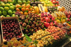 FRUIT STAND. Colourful fruit stand at Boqueria market in Barcelona, Spain Stock Photos