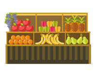 Fruit stand counter vector booth for product shop or supermarket store display. Counter stand with fruits or farm market vegetables product booth display for vector illustration