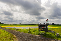 Fruit stand and field. Flooded field on the island of Moen Royalty Free Stock Image
