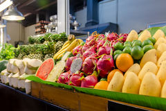 A fruit stand. With many fresh fruit varieties Stock Image