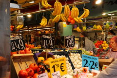 Fruit stand at market,Barcelona Royalty Free Stock Images