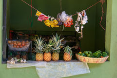 Fruit stand of a marketplace Royalty Free Stock Photos