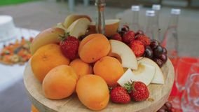 Fruit on a stand panorama stock video footage