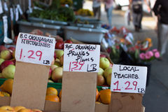 Fruit stand with prices Stock Image