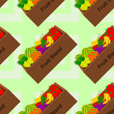 Fruit stand seamless background design Stock Images