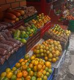 Fruit stand on the street. Fruit and vegetable stand on the street stock image