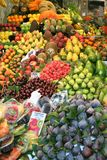 Fruit stand on summer. Fruit stand ar boqueria market of Barcellona Royalty Free Stock Photo