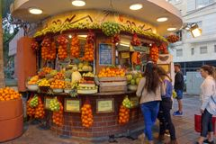 Fruit stand in Tel Aviv. Colorful picture of a fruit stand in Tel Aviv`s Bauhaus district Stock Image