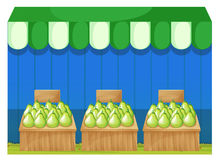Fruit stands with pears Royalty Free Stock Photo