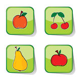 Fruit sticker color vector Stock Photos