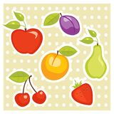 Fruit stickers. Cartoon Fruit stickers  illustration Royalty Free Stock Photo
