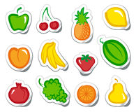 Fruit on stickers Royalty Free Stock Image