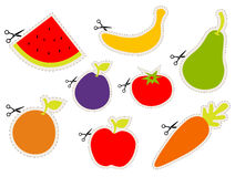 Fruit stickers with scissors Stock Photo