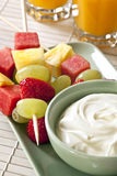 Fruit Sticks and Yogurt Royalty Free Stock Image