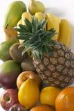 Fruit still life. Exotic fruit still life: pineapple, banana, lemon, kiwi, pawpaw Royalty Free Stock Photo