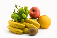 Fruit still-life. With bananas, grapes and an apple Royalty Free Stock Photo