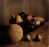 Fruit Still Life. Moody still life of fruit in bowl Stock Images