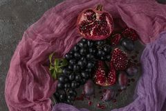 Fruit still life. On the brown background Royalty Free Stock Photos