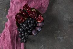 Fruit still life. On the brown background Royalty Free Stock Image