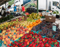Fruit and  Strawberries for sale at market Royalty Free Stock Photo