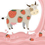 Fruit strawberry milk splash milk cow Vector Illustration. Berry Fruit Milk Cow Splash vector illustration cartoon Dairy products with strawberries Elements Stock Photos