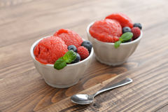 Fruit strawberry sorbet Royalty Free Stock Image