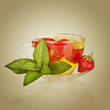 Fruit strawberry tea Stock Photography