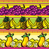 Fruit on a striped seamless Stock Images
