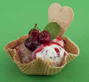 Fruit sundae with cherry on waffle Stock Photography