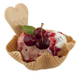 Fruit sundae with cherry on waffle Royalty Free Stock Photography