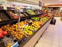 Fruit in supermarket. Fruit section in large Dutch supermarket stock images