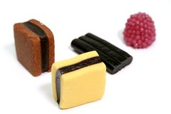 Fruit sweets in the form of various color rolls 4 Royalty Free Stock Images