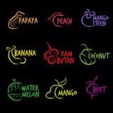 Fruit Symbols logo vector hand white line Royalty Free Stock Images