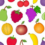 Fruit Symbols Seamless Pattern on White. A seamless pattern with colorful cartoon style fruit icons or symbols, isolated on white background: banana, bunch of Stock Images