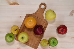 Fruit on the table. Pears, apples, an orange on the table Royalty Free Stock Images