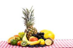 Fruit on tablecloth textile Royalty Free Stock Photo