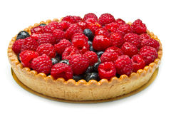 Fruit tart. With fresh raspberry and blueberry Stock Photo