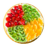 Fruit tart. Fruit and vanilla tart with assorted fruits. Above view isolated on white Stock Image