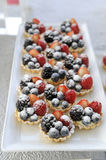 Fruit tart. On white plate Royalty Free Stock Images