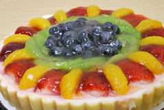 Fruit tart. Close up of a delicious fruit tart with thick glazing Royalty Free Stock Photo