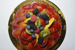 Fruit tart cake on white background Royalty Free Stock Images