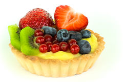Fruit tart. Delicious tart with vanilla cream and fresh fruits stock photography
