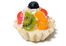Fruit tart dessert. A closeup, isolated view of a tasty, mouth-watering fruit tart dessert.  White background Royalty Free Stock Photos