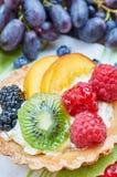 Fruit tart and fresh fruits stock photo